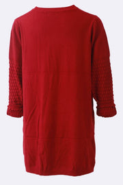 Amelia-lily Textured Sleeve Knitted Pocket Tunic Jumper