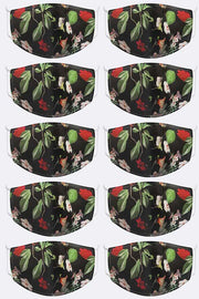 Jasmine & Leaves Print Face Cover