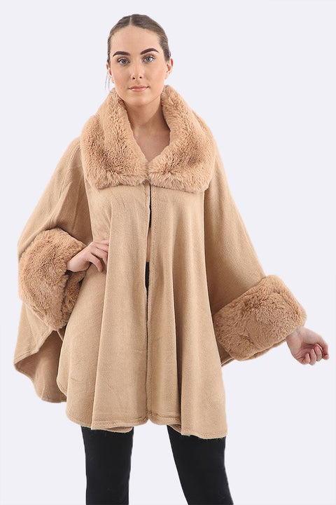 Dulcie Faux Fur Collar Cape Poncho