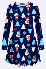 Cora Snowflake Tree Snowman Print Xmas Swing Dress - Love My Fashions - Womens Fashions UK
