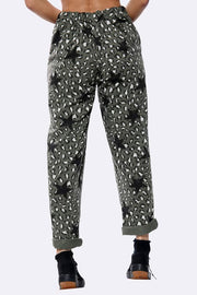 Italian Cotton Leopard Star Drawstring Trousers