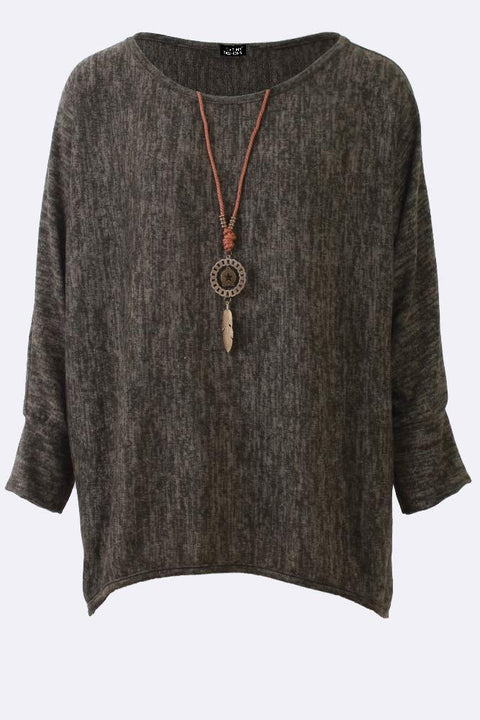 Malia Textured Long Sleeve Necklace Top