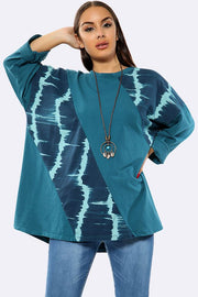 Italian Tie Dye Patches Work Necklace Top
