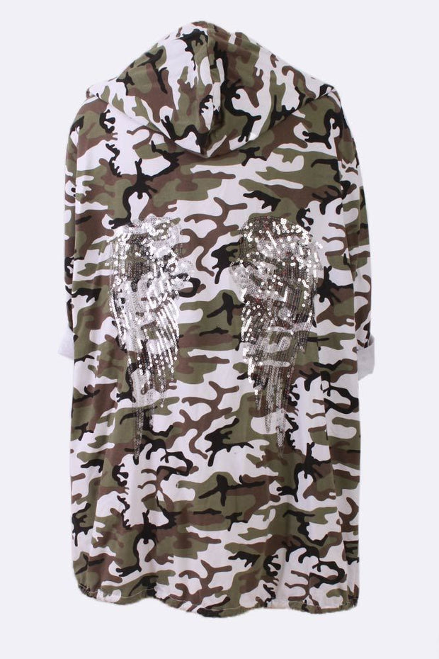 Gia Angel Wings Camouflage Print Drawstring Cardigan - Love My Fashions - Womens Fashions UK