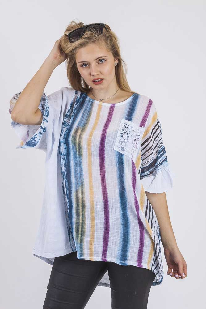 Aanya Linen Abstract Stripe Lace Pocket Top - Love My Fashions - Womens Fashions UK
