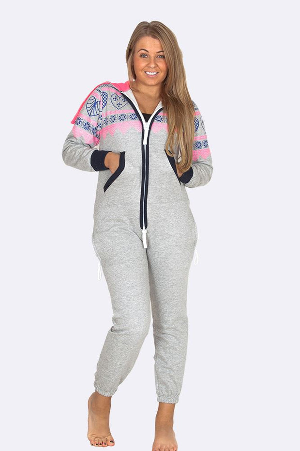 Emerson Hooded Heart Aztec Print Onesie - Love My Fashions - Womens Fashions UK