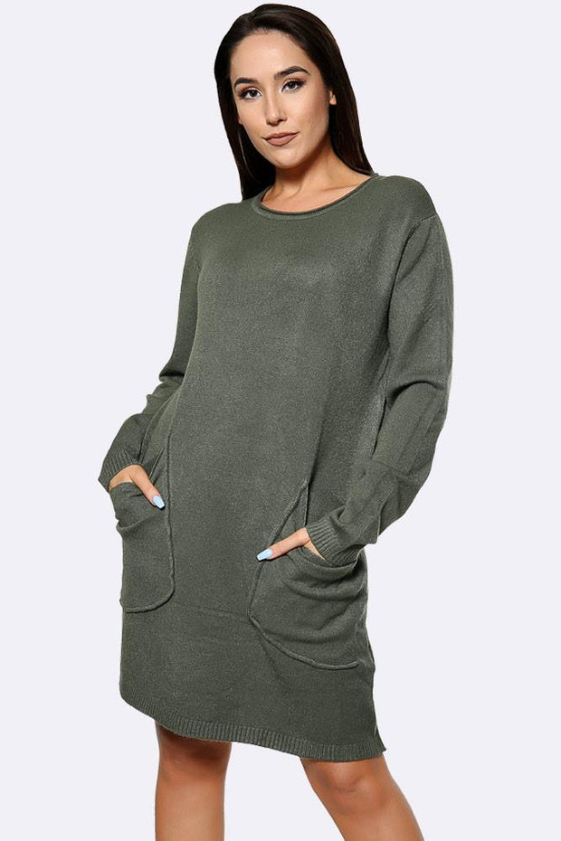 Plain Fluffy Knitted Big Front Pocket Jumper