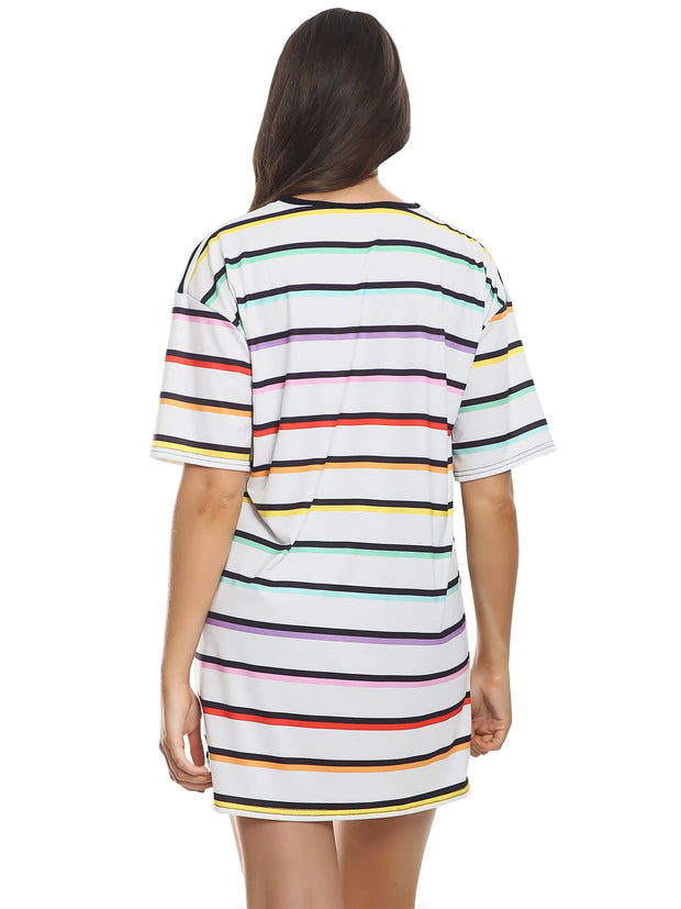 Stripe Print Boyfriend T-shirt Dress_grwo