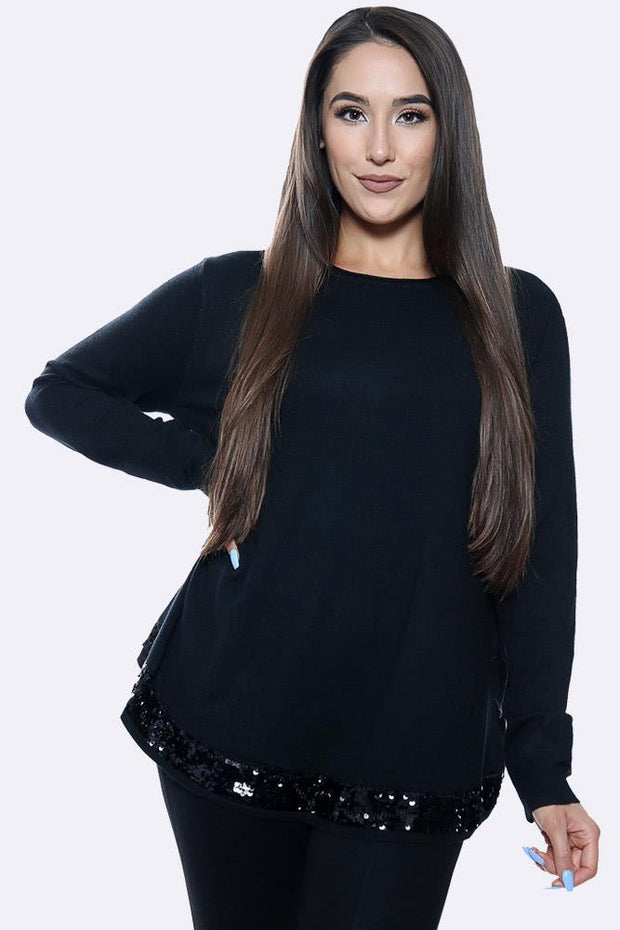 Sequin Hem Plain Tunic Long Sleeve Jumper