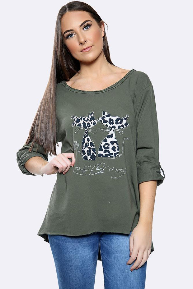 Italian Leopard Twin Cat Diamante Pattern Top
