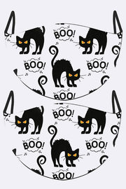 Scary Cat Boo Print Face Mask Cover