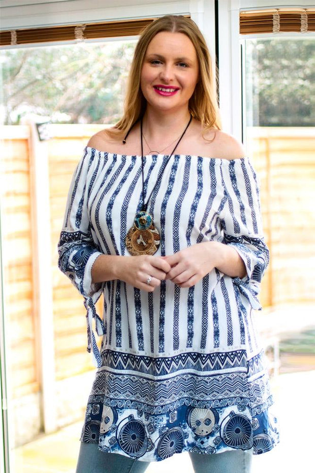 Maria Italian Aztec Print Off The Shoulder Top - Love My Fashions - Womens Fashions UK