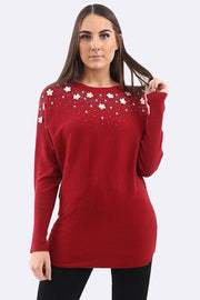 Kailee Beads Diamante Applique Flower Bodice Oversized Jumper