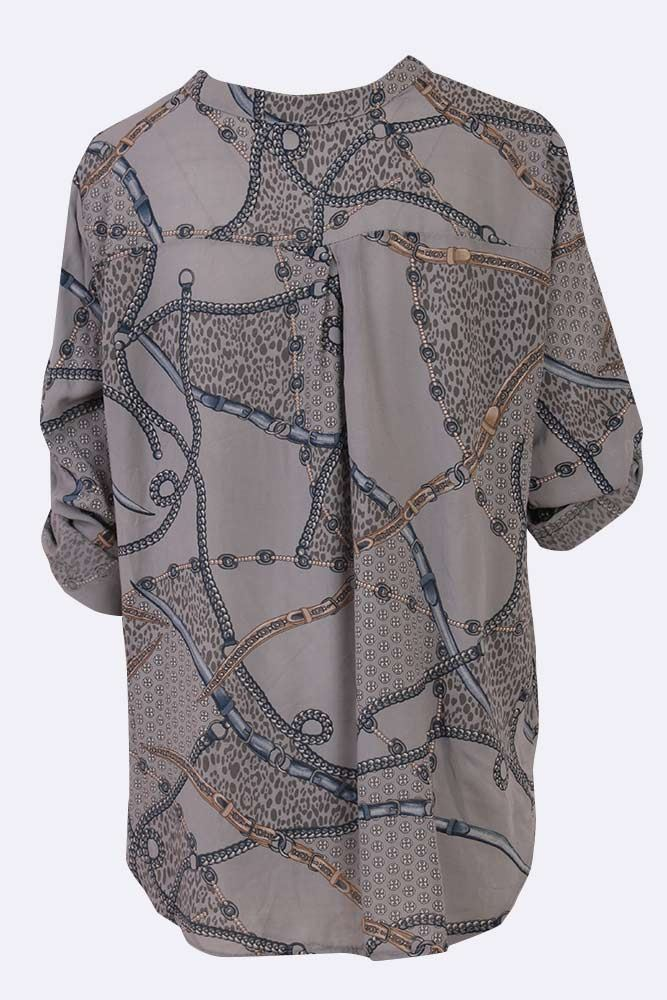 Kailyn Viscose Belt Chain Print Top