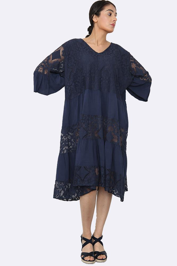 Italian V neck Panelled Lace Dress