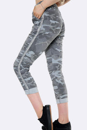 Camo Lurex Side Tape Trousers