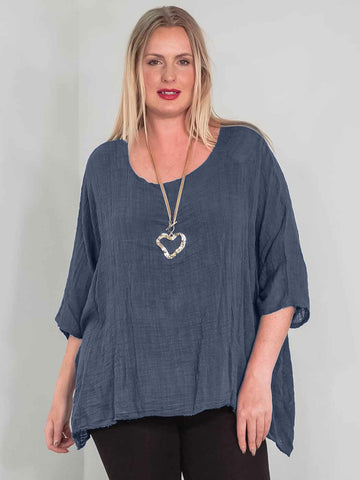 Phoebe Textured Linen Baggy Top