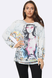 Italian Fashion City Girl Print Tunic Top