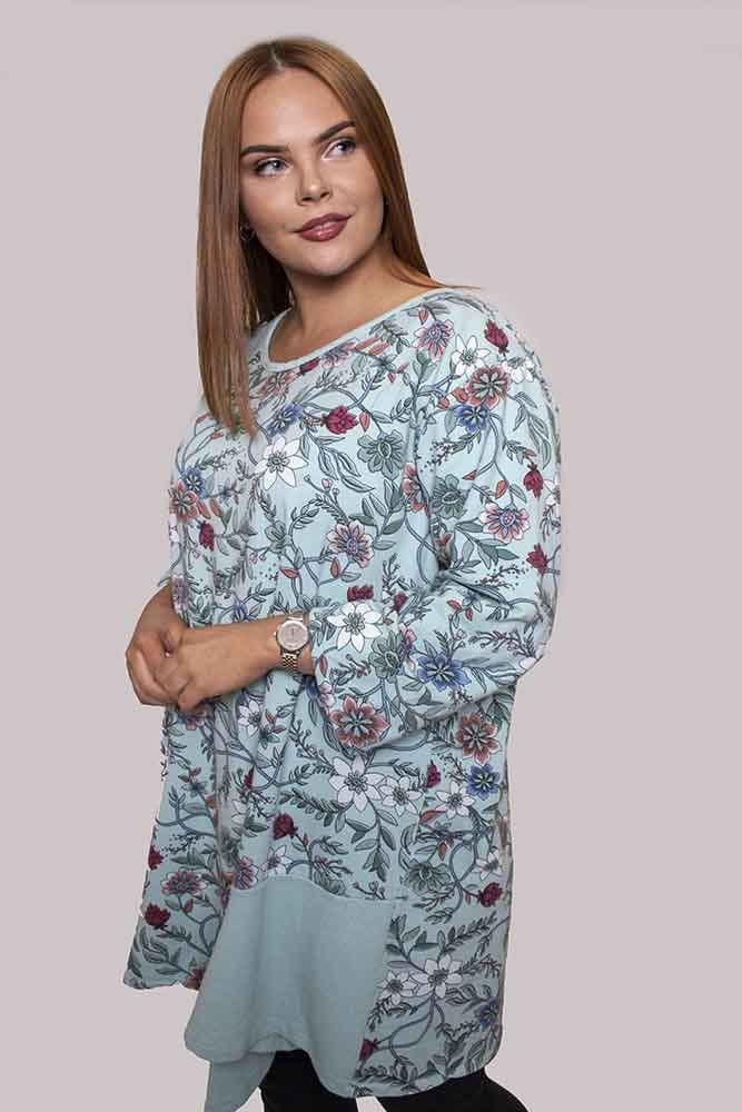 Eleanor Cotton Asymmetric Floral Top - Love My Fashions - Womens Fashions UK