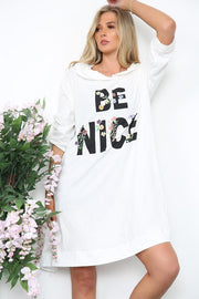 Be Nice Motif Hooded Top