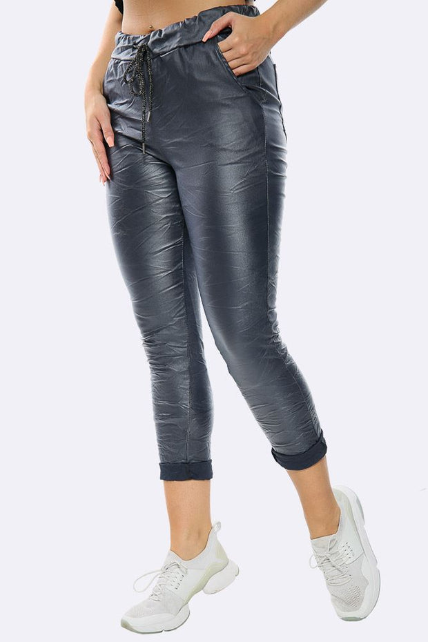 Italian Wet Look Full Length Magic Pant