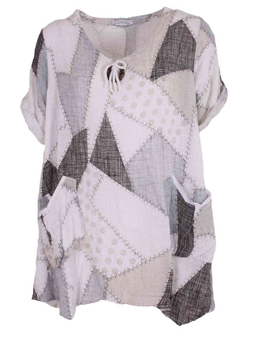 Zoe Patchy Button And Tab Tunic Top