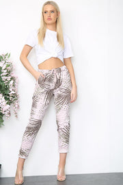 Italian Drawstring Palm Leaf Print Pants