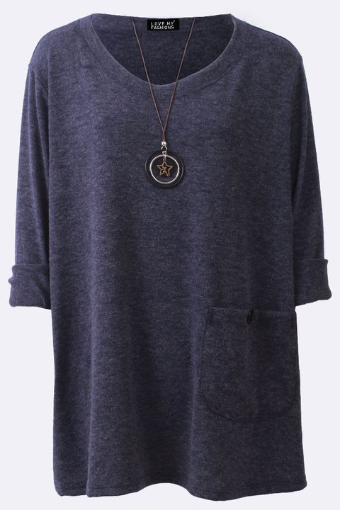 Amira Plain Button Pocket Necklace Tunic Top