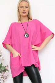 Italian Plain Oversized Pocket & Necklace Top