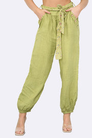 Italian Button Pocket Detail  Linen Trousers