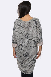 Dip Hem Cracks Print Dress
