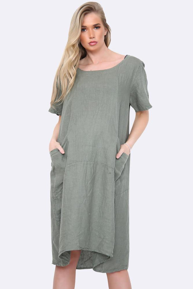 Italian Linen Panelled Pocket Dress