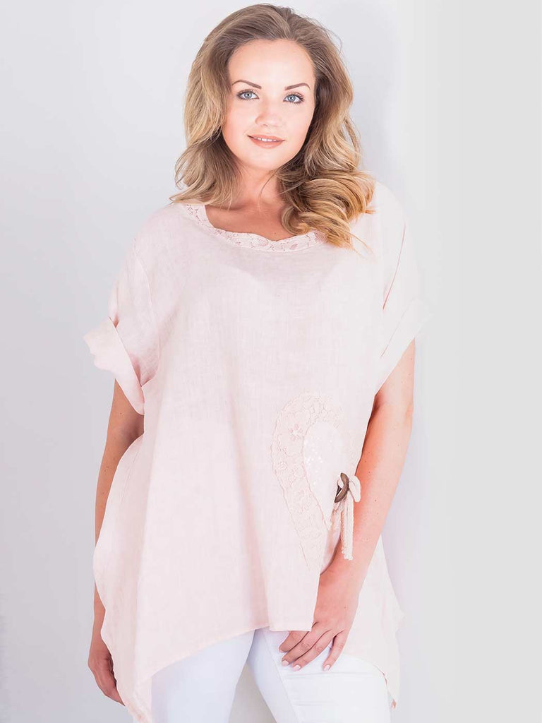 Molly Sequin Heart Crochet Tunic Top - Love My Fashions - Womens Fashions UK
