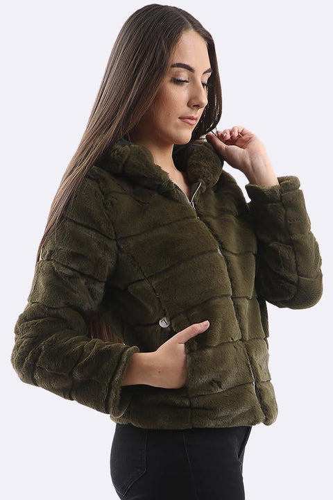 Orlaith Quilted Faux Fur Hooded Jacket