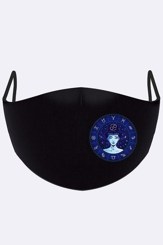 Blue Zodiac Print Fashion Face Mask Cover_grwo