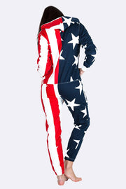 Unisex Usa Flag Hooded Jumpsuit - Love My Fashions - Womens Fashions UK