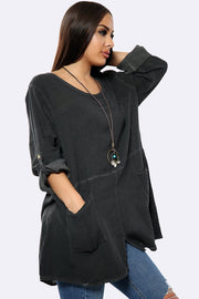 Texture Pattern Necklace Tunic Top