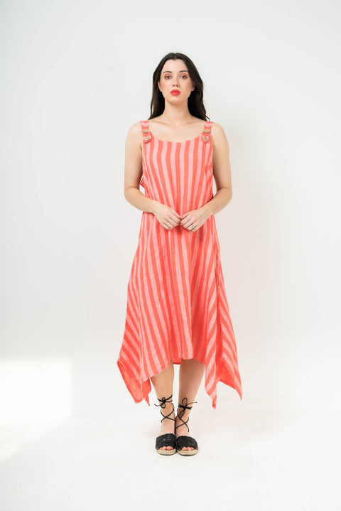 Linen Stripy Side Slits Dungeree Dress - Love My Fashions - Womens Fashions UK