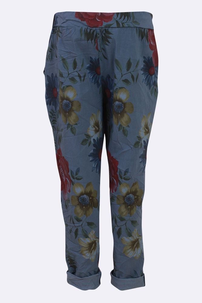 Adelaide Multi Floral Drawstring Waist Trousers - Love My Fashions - Womens Fashions UK