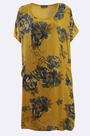 Skylar Italian Cotton Flower Print Short Sleeve Pocket Dress - Love My Fashions - Womens Fashions UK