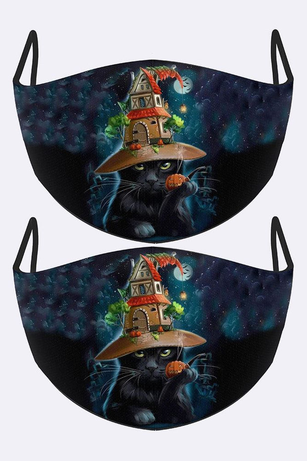 Black Cat House Hat Print Face Mask Cover