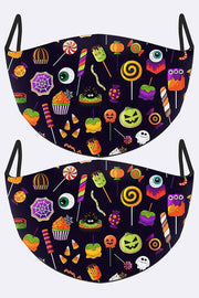 Halloween Candy Print Face Mask Cover