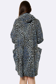 Italian Leopard Print Cowl Neck Dress