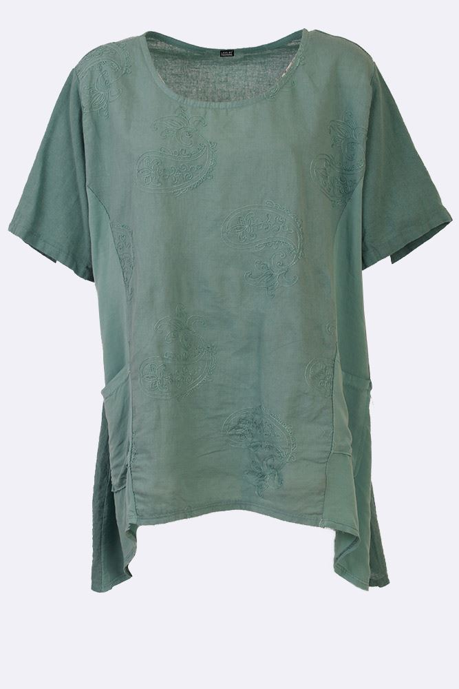 Jaclyn Linen Paisley Embroidered Hanky Hem Top - Love My Fashions - Womens Fashions UK