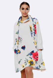 Panelled Bold Floral Print Scarf Top