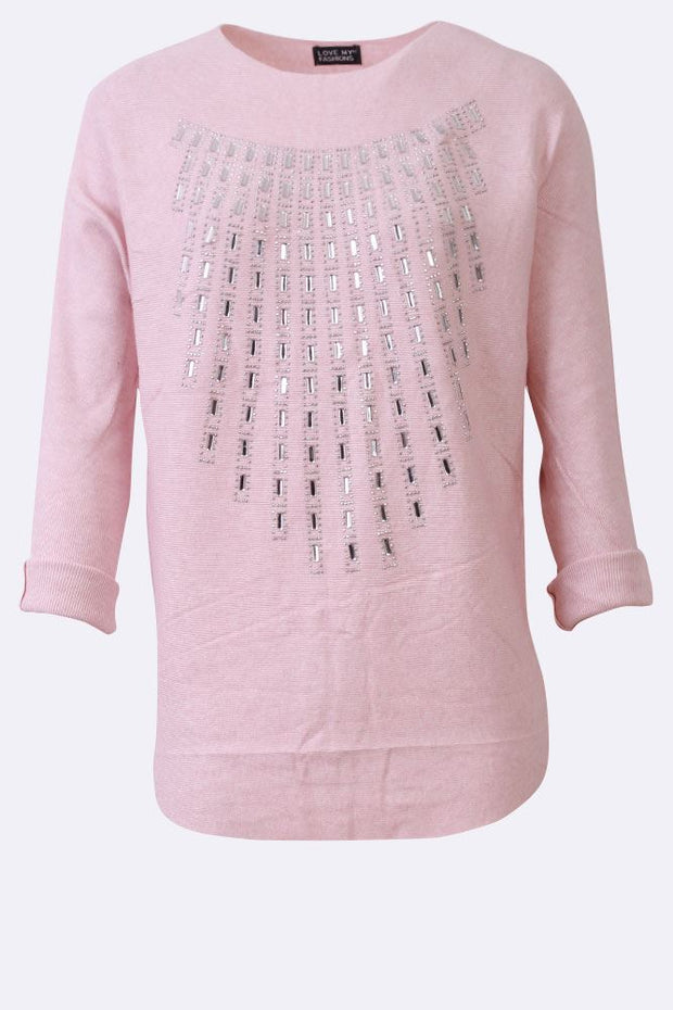 Isabella Diamante Detail Chest Long Sleeve Tunic Top