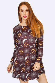 Hermione Halloween Scary Bats Prints Swing Dress - Love My Fashions - Womens Fashions UK
