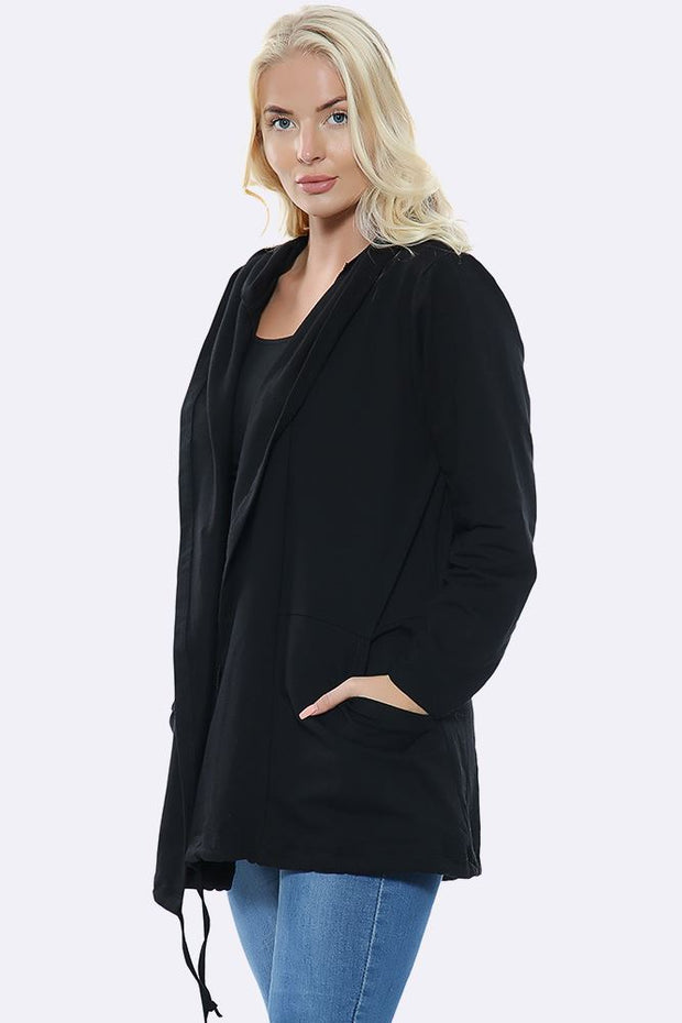 Italian Plain Hooded Pocket Cardigan