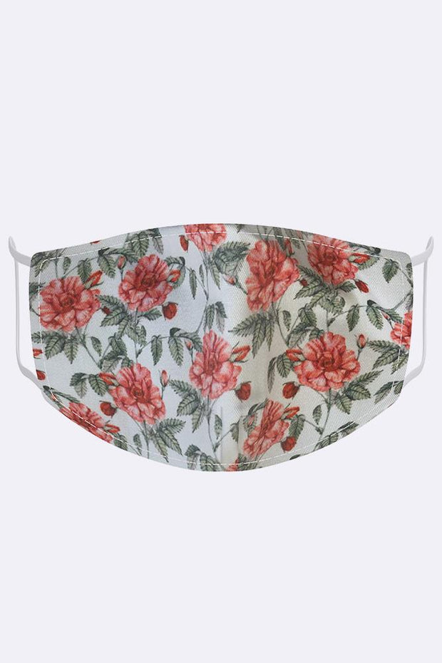 Floral Rose Print Fashion Face Mask Cover