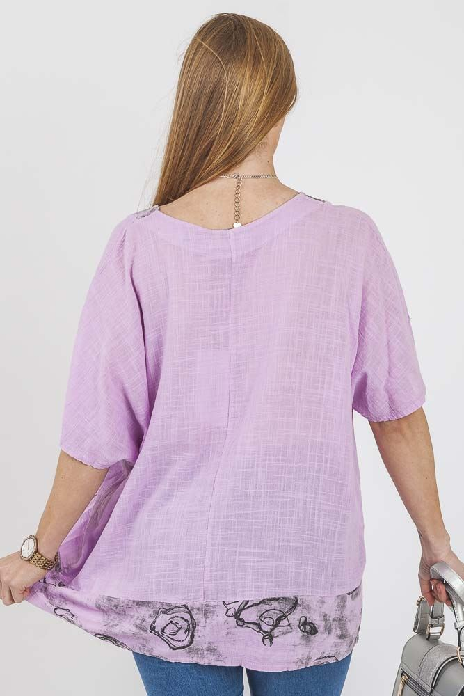 Kaylee Linen Abstract Applique Top - Love My Fashions - Womens Fashions UK